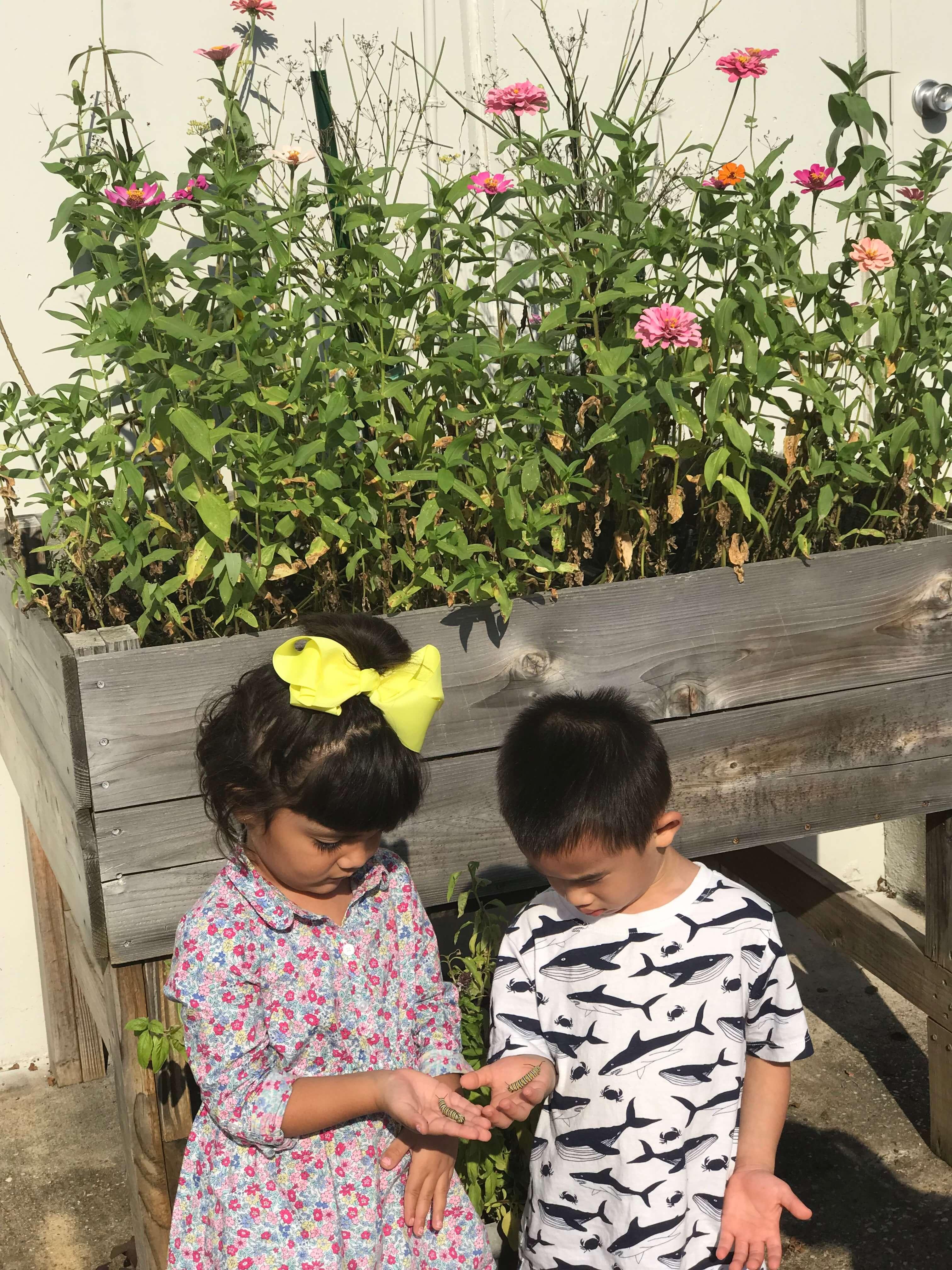 Two kids holding caterpillars